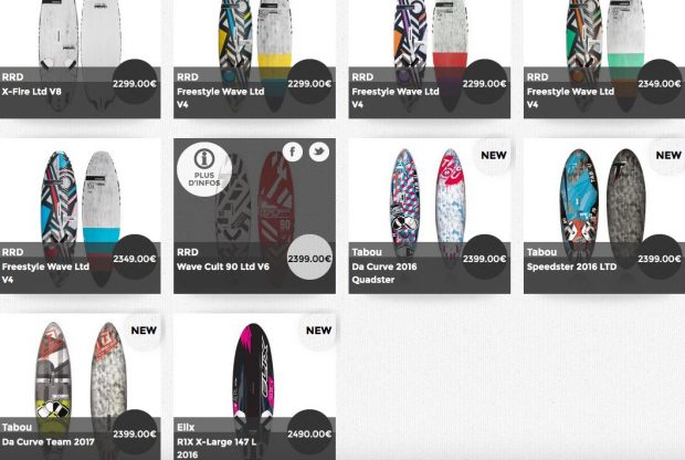 planche boards windsurf flotteurs