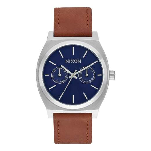 time-teller-deluxe-leather-navy-sunray-brown-nixon
