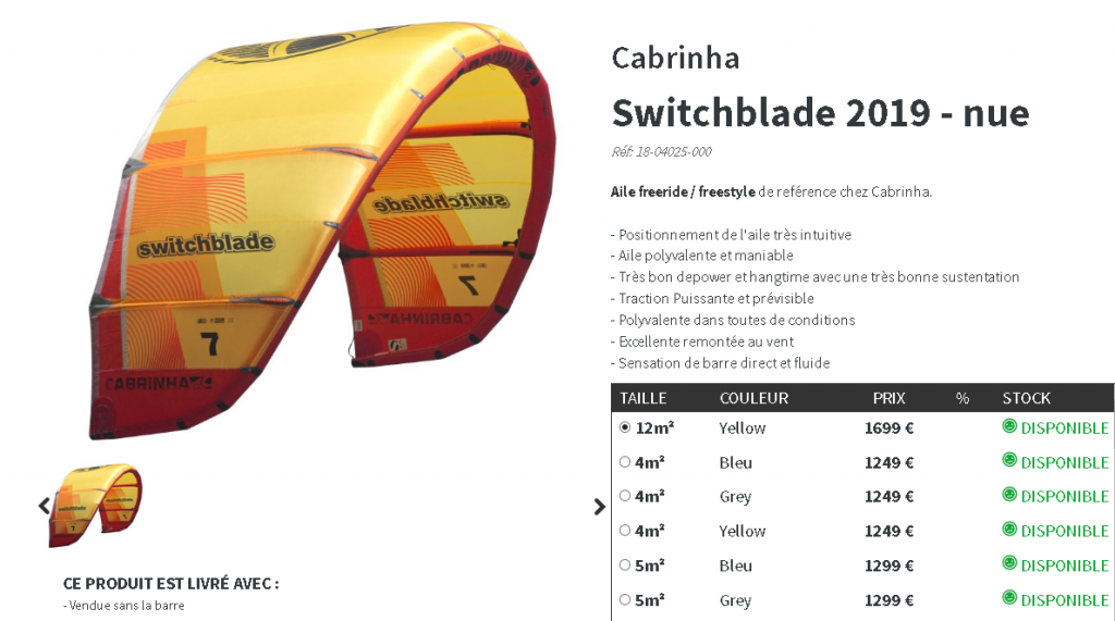 Cabrinha Switchblade kite 2019