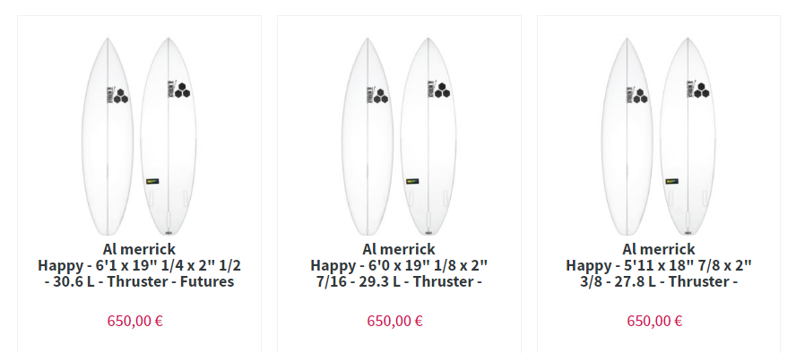 happy merrick surfboard